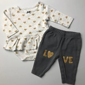 🌼 Carter's Heart Love Onesie Outfit